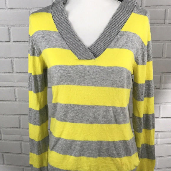 GAP Sweaters - Gap Womens Yellow Gray Striped Veck Sweater Size M